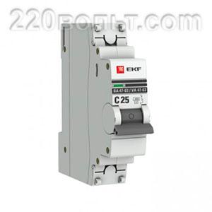 Автоматический выключатель ВА 47-63, 1P 25А (C) 4,5kA EKF PROxima