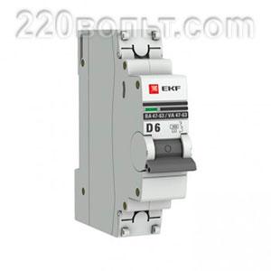 Автоматический выключатель ВА 47-63, 1P 6А (D) 4,5kA EKF PROxima