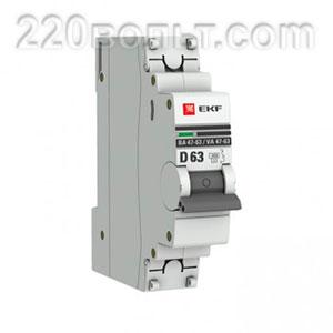 Автоматический выключатель ВА 47-63, 1P 63А (D) 4,5kA EKF PROxima