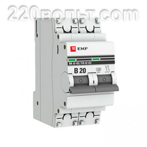 Автоматический выключатель ВА 47-63, 2P 20А (B) 4,5kA EKF PROxima