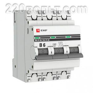 Автоматический выключатель ВА 47-63, 3P 6А (B) 4,5kA EKF PROxima