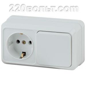 Intro Quadro Блок розетка+выкл. гориз.10(16)А-250В, IP20, ОУ, белый 2-701-01 (открытая установка)