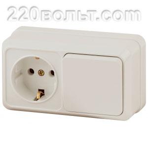 Intro Quadro Блок розетка+выкл. гориз.10(16)А-250В, IP20, ОУ, сл.кость 2-701-02 (открытая установка)