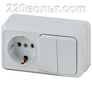 Intro Quadro Блок розетка+выкл. двойной гориз.10(16)А-250В, IP20, ОУ, белый 2-702-01 (откр. устан.)
