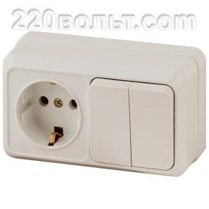 Intro Quadro Блок розетка+выкл. двойной гориз.10(16)А-250В, IP20, ОУ, сл.кость 2-702-02 (откр. уст.)