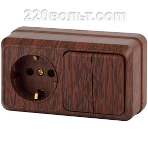 Intro Quadro Блок розетка+выкл. двойной гориз.10(16)А-250В, IP20, ОУ, венге 2-702-10 (откр. устан.)