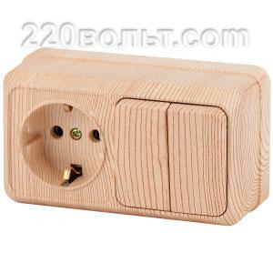 Intro Quadro Блок розетка+выкл. двойной гориз.10(16)А-250В, IP20, ОУ, сосна 2-702-11 (откр. устан.)