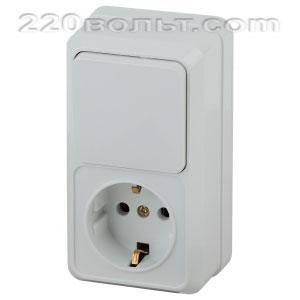 Intro Quadro Блок розетка+выкл. верт. 10(16)А-250В, IP20, ОУ, белый 2-705-01 (открытая установка)