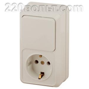 Intro Quadro Блок розетка+выкл. верт. 10(16)А-250В, IP20, ОУ, сл.кость 2-705-02 (открытая установка