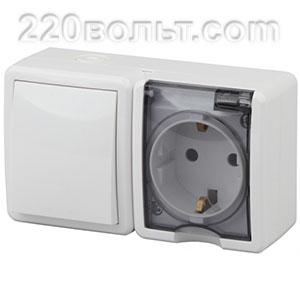 Блок розетка+выключатель IP54, 16A(10AX)-250В, ОУ, Эра Эксперт, белый 11-7401-01 ЭРА герм