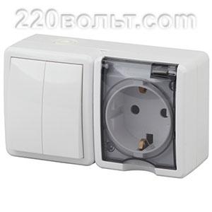 Блок розетка+выключатель двойной IP54, 16A(10AX)-250В, ОУ, Эра Эксперт, белый 11-7402-01 ЭРА герм