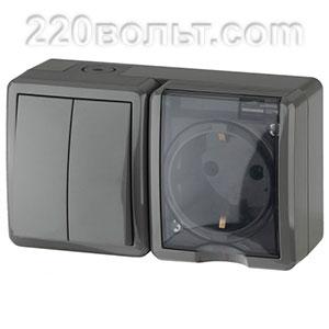 Блок розетка+выключатель двойной IP54, 16A(10AX)-250В, ОУ, Эра Эксперт, серый 11-7402-03 ЭРА герм
