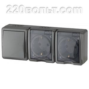Блок две розетки+выключатель IP54, 16A(10AX)-250В, ОУ, Эра Эксперт, серый 11-7403-03 ЭРА герм