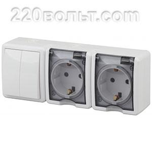 Блок две розетки+выключатель двойной IP54, 16A(10AX)-250В, ОУ, Эра Эксперт,белый 11-7404-01 ЭРА герм