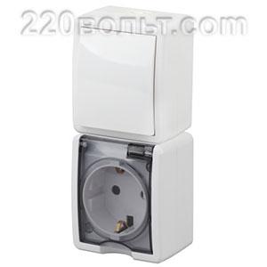 Блок розетка+выкл. верт. IP54, 16A(10AX)-250В, ОУ, Эра Эксперт, белый 11-7407-01 ЭРА герм