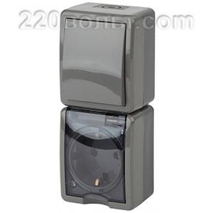 Блок розетка+выкл. верт. IP54, 16A(10AX)-250В, ОУ, Эра Эксперт, серый 11-7407-03 ЭРА герм