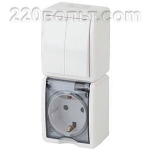 Блок розетка+выкл. двойн. верт. IP54, 16A(10AX)-250В, ОУ, Эра Эксперт, белый 11-7408-01 ЭРА герм