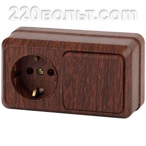 Intro Quadro Блок розетка+выкл. гориз.10(16)А-250В, IP20, ОУ, венге 2-701-10 (открытая установка)