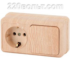 Intro Quadro Блок розетка+выкл. гориз.10(16)А-250В, IP20, ОУ, сосна 2-701-11 (открытая установка)