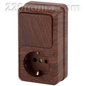 Intro Quadro Блок розетка+выкл. верт. 10(16)А-250В, IP20, ОУ, венге 2-705-10 (открытая установка)