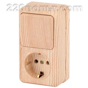 Intro Quadro Блок розетка+выкл. верт. 10(16)А-250В, IP20, ОУ, сосна 2-705-11 (открытая установка)