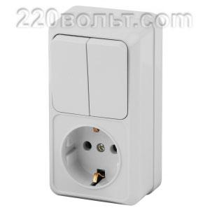 Intro Quadro Блок розетка+выкл. двойной верт. 10(16)А-250В, IP20, ОУ, белый 2-706-01 (откр. устан.)
