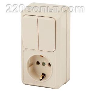 Intro Quadro Блок розетка+выкл. двойной верт. 10(16)А-250В, IP20, ОУ, сл.кость 2-706-02 (откр.уст.)