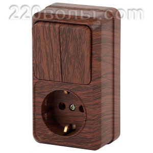 Intro Quadro Блок розетка+выкл. двойной верт. 10(16)А-250В, IP20, ОУ, венге 2-706-10 (откр.устан.)