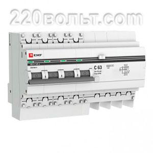 Дифференциальный автомат АД-4 63А/30мА (хар. C, AC, электронный, защита 270В) 4,5кА EKF PROxima