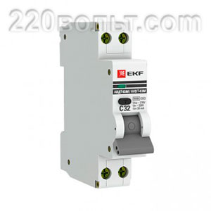 Дифференциальный автомат АВДТ-63М 6А/30мА (1мод., хар.C, электронный тип AС) 6кА EKF PROxima