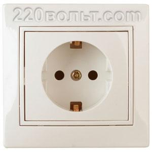 Intro Plano Розетка 2P+E Schuko, 16A-250В (керам.+ поджим) с шторками, IP20, СУ, сл.кость 1-206-02
