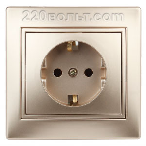 Intro Plano Розетка 2P+E Schuko, 16A-250В (керам.+ поджим) с шторками, IP20, СУ, шампань 1-206-04