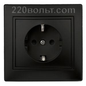 Intro Plano Розетка 2P+E Schuko, 16A-250В (керам.+ поджим) с шторками, IP20, СУ, антрацит 1-206-05