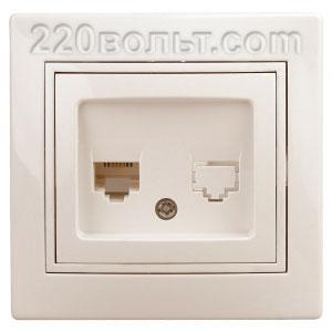 Intro Plano Розетка телефонная RJ11, IP20, СУ, сл. кость 1-302-02