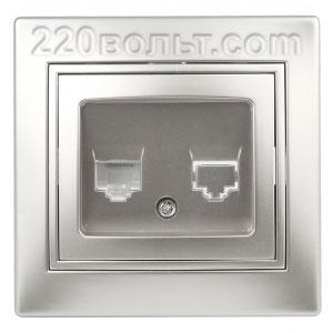 Intro Plano Розетка телефонная RJ11, IP20, СУ, алюминий 1-302-03