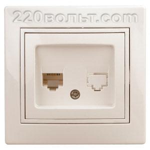 Intro Plano Розетка информацион RJ45, IP20, СУ, сл. кость 1-303-02