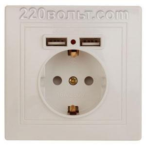 Intro Plano Розетка+USB, IP20, СУ, сл. кость 1-410-02