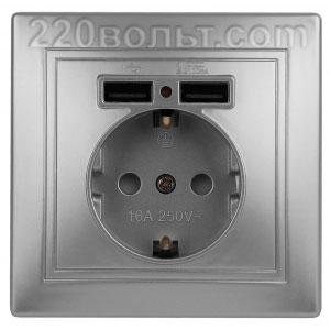 Intro Plano Розетка+USB, IP20, СУ, алюминий 1-410-03