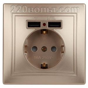 Intro Plano Розетка+USB, IP20, СУ, шампань 1-410-04