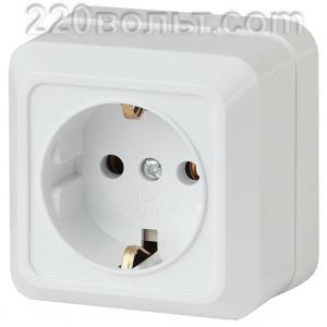 Intro Quadro Розетка 2P+E Schuko, 16А-250В, IP20, ОУ, белый 2-202-01 (открытая установка)