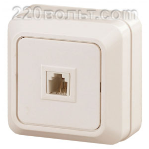 Intro Quadro Розетка телефонная RJ11, IP20, ОУ, сл. кость 2-302-02 (открытая установка)