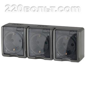 Розетка 3х2P+E IP54, 16A-250В, ОУ, Эра Эксперт, серый 11-2405-03 ЭРА герм