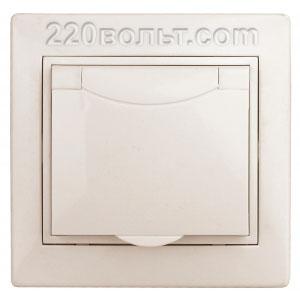 Intro Plano Розетка 2P+E Schuko, 16A-250В (керам.+ поджим) с крышкой, IP20, СУ, сл. кость 1-203-02