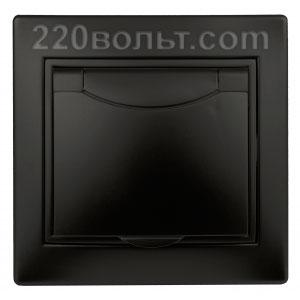 Intro Plano Розетка 2P+E Schuko, 16A-250В (керам.+ поджим) с крышкой, IP20, СУ, антрацит 1-203-05