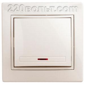 Intro Plano Выключатель с подсветкой 10А-250В, IP20, СУ, сл. кость 1-102-02
