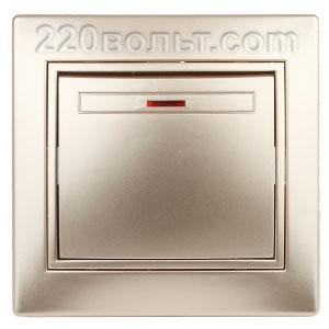Intro Plano Выключатель с подсветкой 10А-250В, IP20, СУ, шампань 1-102-04