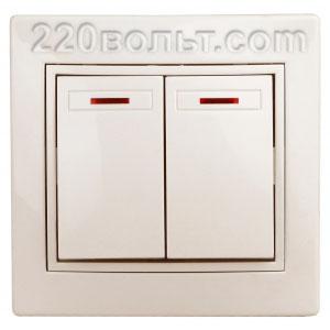 Intro Plano Выключатель двойной с подсветкой 10А-250В, IP20, СУ, сл. кость 1-105-02