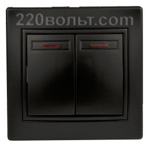 Intro Plano Выключатель двойной с подсветкой 10А-250В, IP20, СУ, антрацит 1-105-05