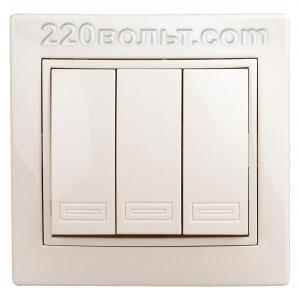 Intro Plano Выключатель тройной 10А-250В, IP20, СУ, сл. кость 1-106-02