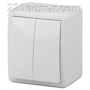 Выключатель двойной IP54, 10АХ-250В, ОУ, Эра Эксперт, белый 11-1404-01 ЭРА герм